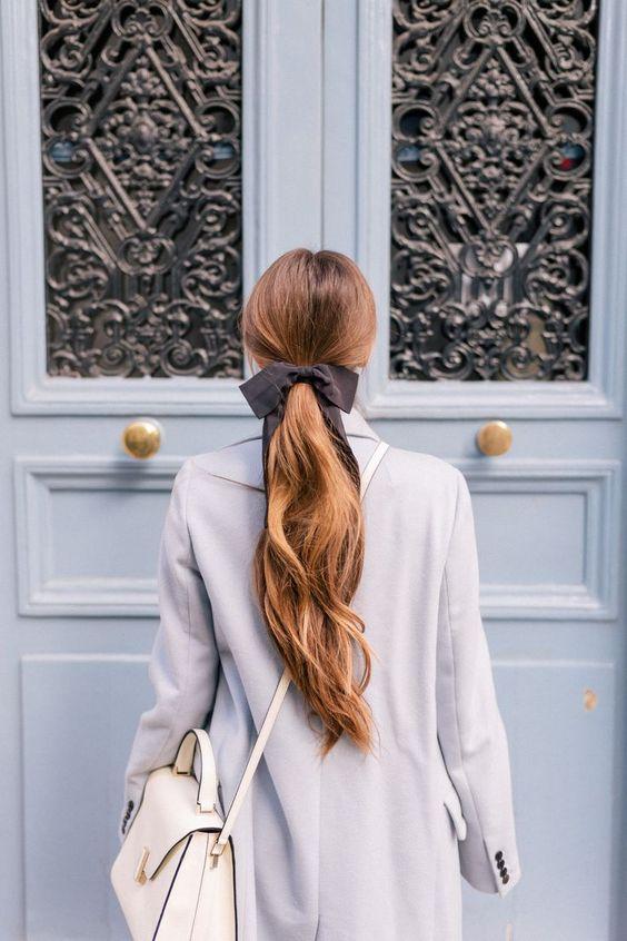 hair ribbons   Paris ponytail grey full-length coat   Girlfriend is Better
