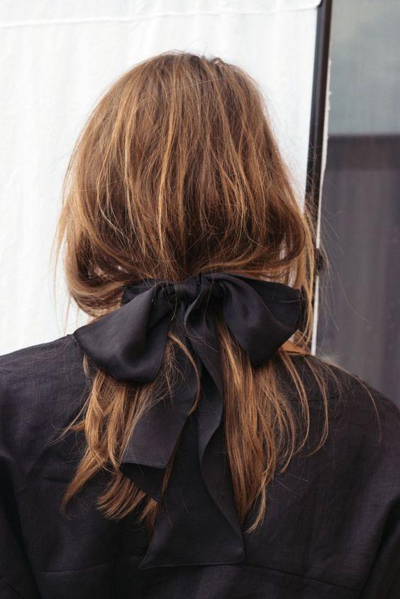 hair ribbons   black silk wide ribbon loose ponytail   Girlfriend is Better