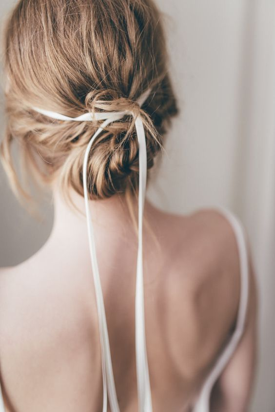 hair ribbons   thin silk ribbon wedding updo bun   Girlfriend is Better