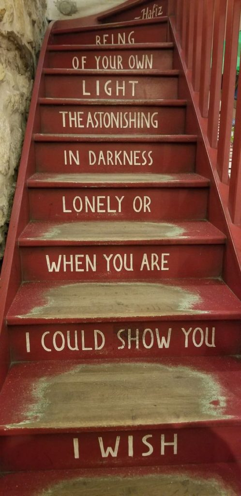 Paris Ground Zero   Shakespeare and Company bookstore red staircase poetry Hafiz   Girlfriend is Better