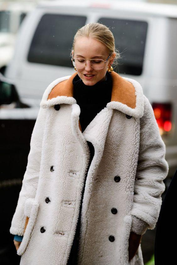 posh fur coats   white teddy bear mid-length turtleneck   Girlfriend is Better