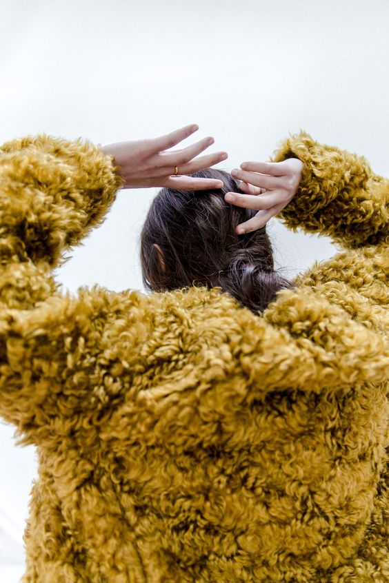 posh fur coats   yellow gold faux shag cropped   Girlfriend is Better