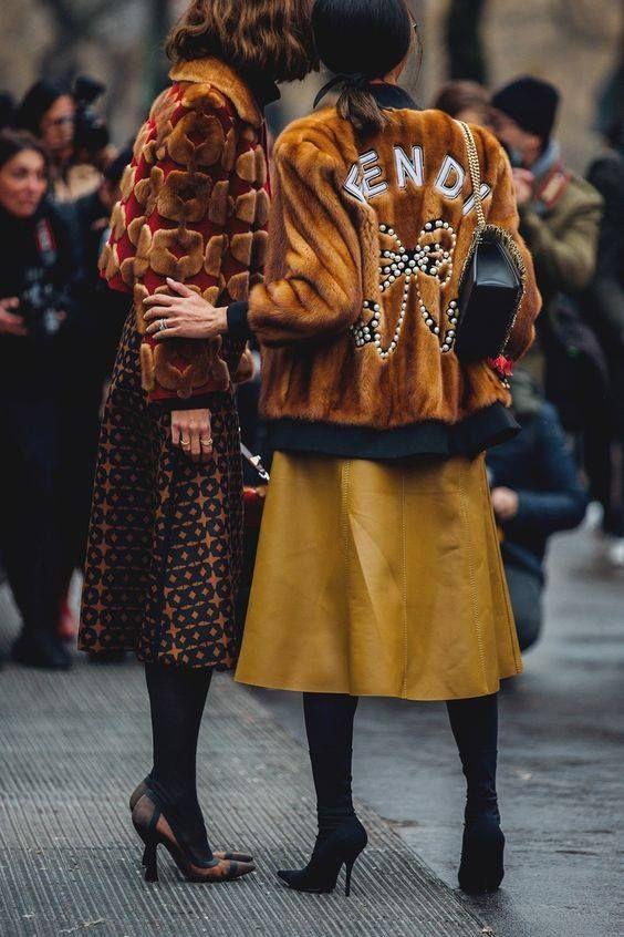 posh fur coats   Fendi tan cropped waist length colored tights midi skirt   Girlfriend is Better