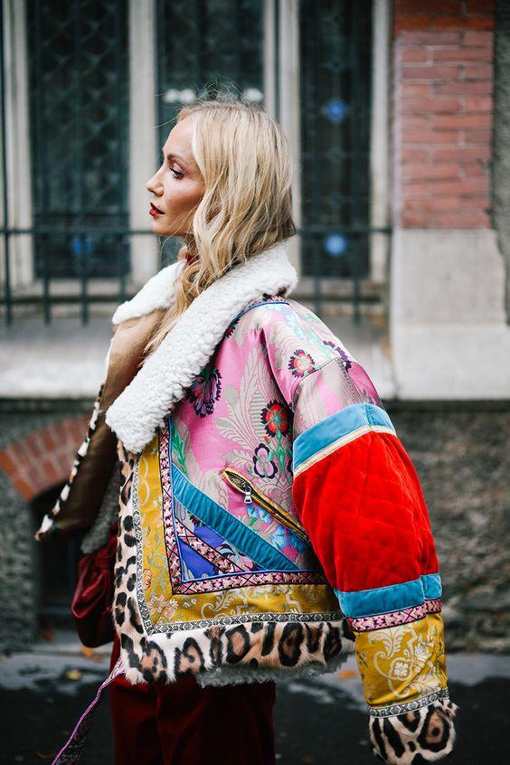 posh fur coats   shearling collar patchwork Asian fabric bomber style faux cheetah   Girlfriend is Better