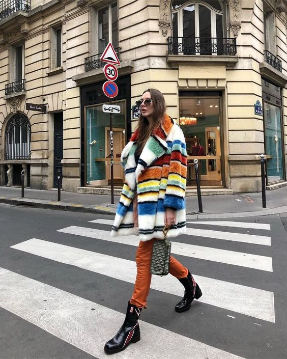 posh fur coats   vintage striped blue yellow red mid-length faux   Girlfriend is Better
