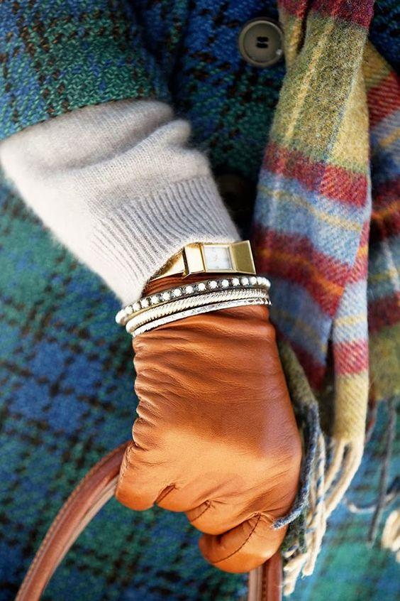 winter accessories | lambskin tan gloves purse gold bracelets rhinestone bangles | Girlfriend is Better