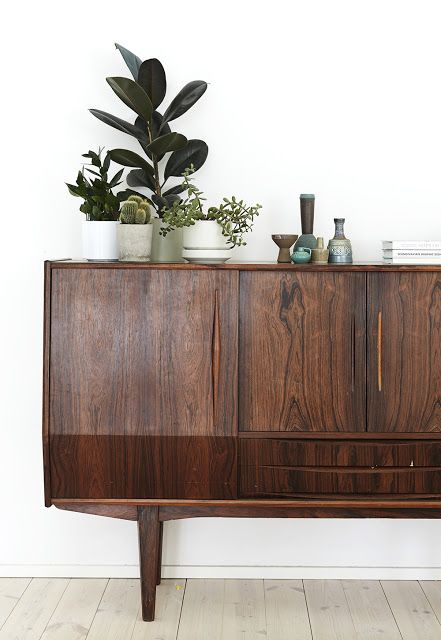 winter Hygge   mid-century console table styling plants vintage planters   Girlfriend is Better