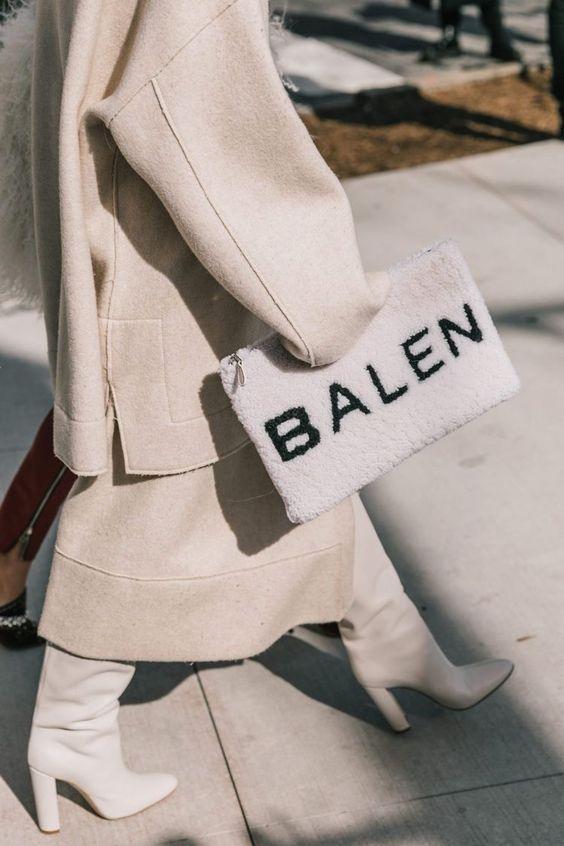 winter white outfits   Balen clutch boots neutrals full-length coat wool   Girlfriend is Better