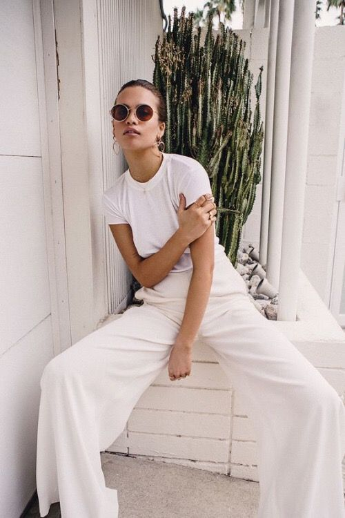 winter white outfits   all-white tee shirt flared high-waist pants   Girlfriend is Better