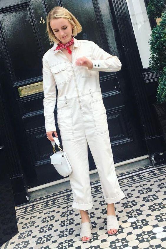 winter white outfits   denim jumpsuit top handle purse neck scarf slides   Girlfriend is Better
