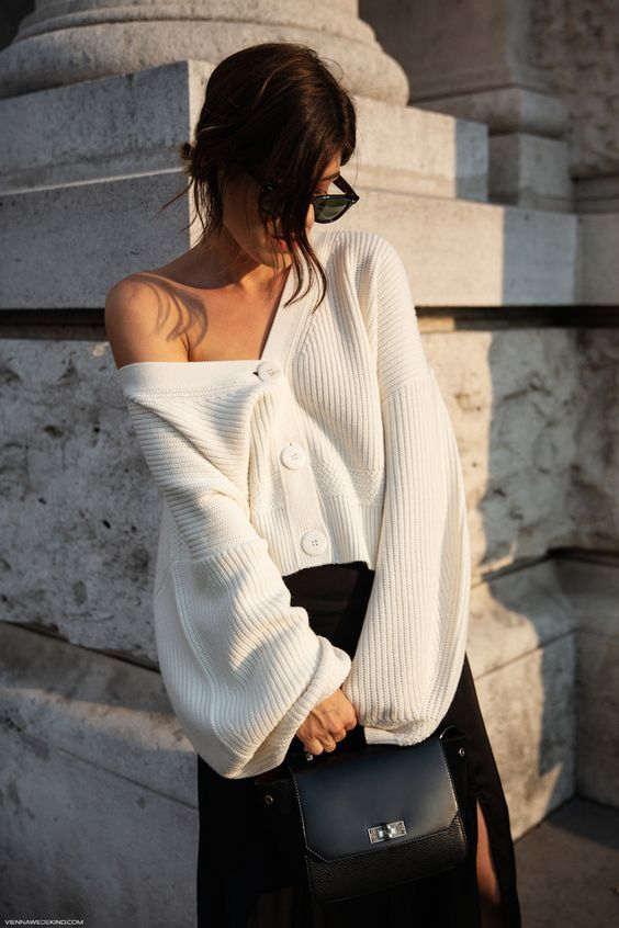 winter white outfits   trans seasonal dressing cardigan sweater top handle purse   Girlfriend is Better