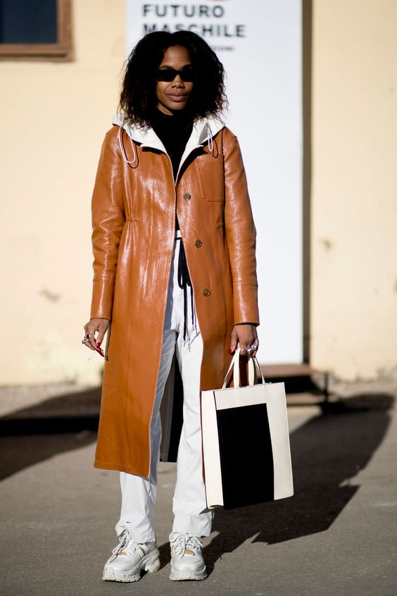 winter white outfits   leather camel full-length coat hoodie tennis shoes top handle bag   Girlfriend is Better