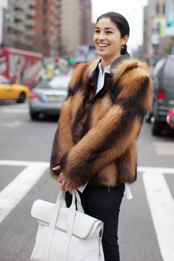 winter white outfits   blouse fur coat top handle bag briefcase   Girlfriend is Better