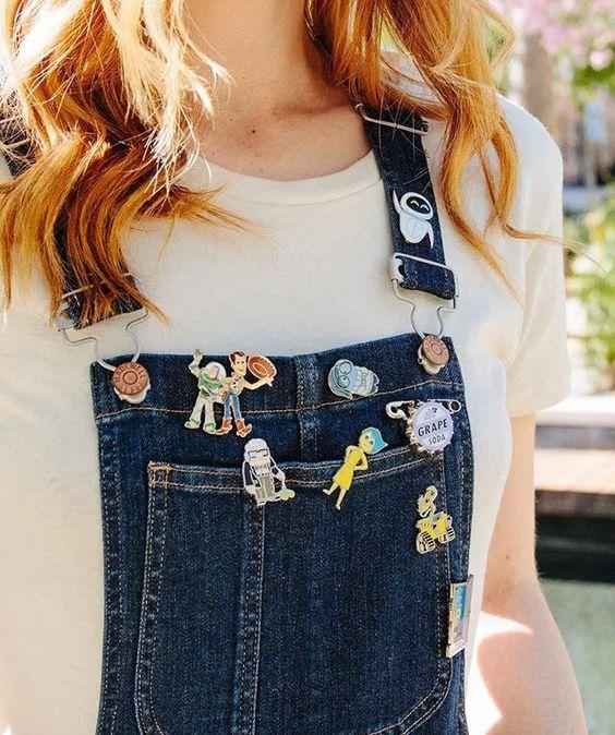Disney enamel pins | denim overalls | Girlfriend is Better