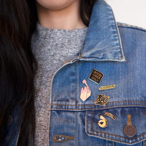 collectible enamel pins | denim jacket | Girlfriend is Better