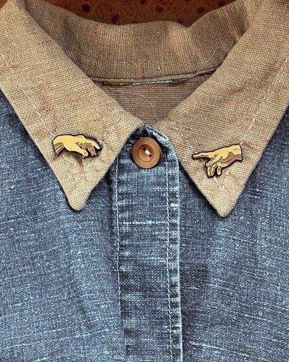 Enamel Pins | gold Sistine chapel Michelangelo hands chambray shirt lapels | Girlfriend is Better