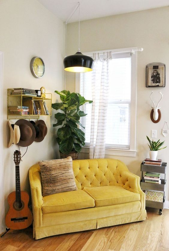 Gold Sofas | tufted mid-century modern fiddle leaf fig | Girlfriend is Better