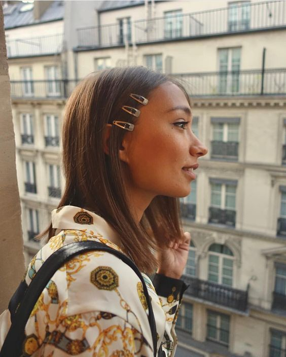 Snap Hair Clips | stacked barrettes neutrals shoulder-length hairstyle  | Girlfriend is Better