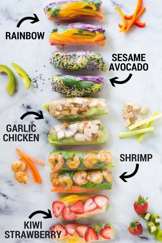 Spring Rolls | variety rainbow sesame avocado garlic chicken shrimp kiwi strawberry recipe | Girlfriend is Better
