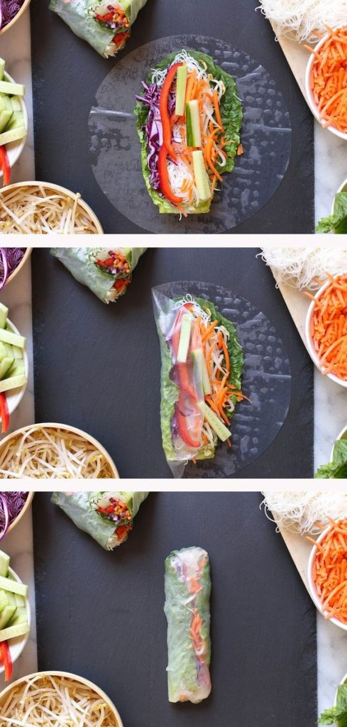Spring rolls recipe | wrapping guide rice paper vegetables romaine lettuce bell pepper cucumber carrots | Girlfriend is Better