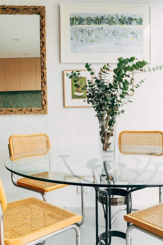 Breuer style chairs   wrought iron glass dining table   Girlfriend is Better