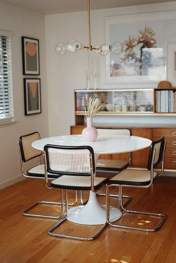 Breuer style chairs   mid-century modern dining room   Girlfriend is Better