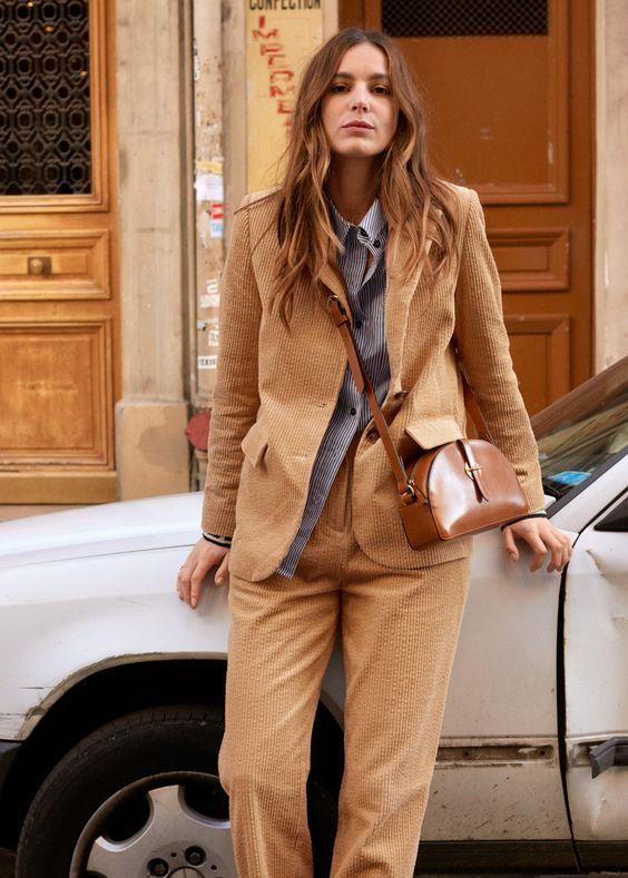 Paris 2nd arrondissement | Shopping & Other Stories tan corduroy pant suit | Girlfriend is Better