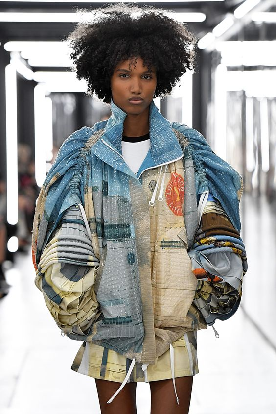 puff shoulders | ruched sleeves Louis Vuitton denim jacket deconstructed | Girlfriend is Better