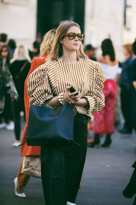 puff shoulders | ruched sleeves striped blouse top handle purse | Girlfriend is Better