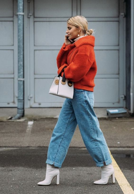 Valentine's Day street style outfits | red cropped teddy bear fur jacket top handle purse white boots | Girlfriend is Better
