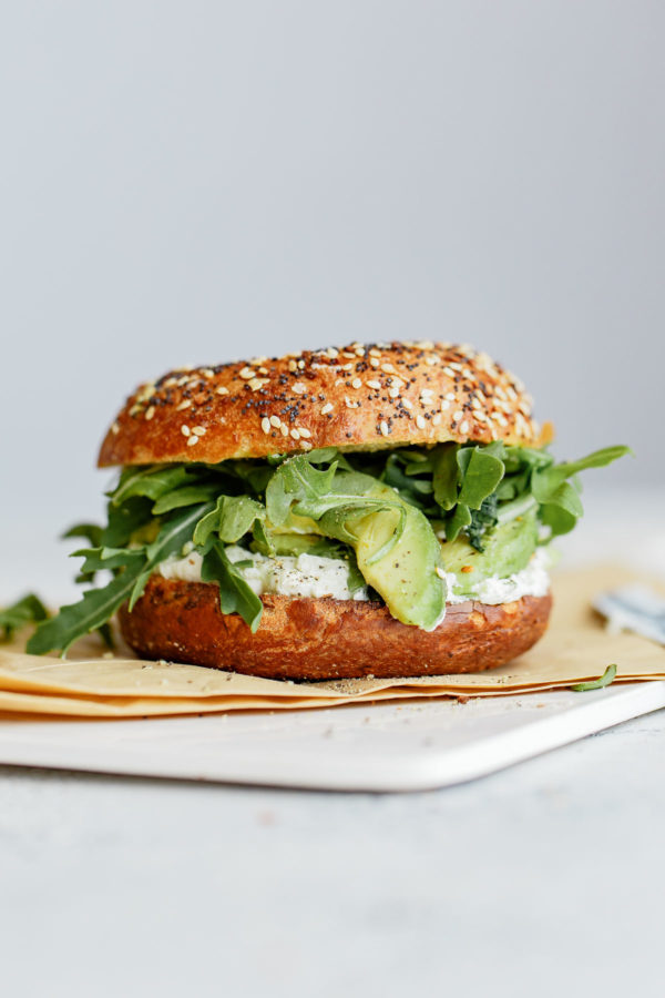 everything bagel sandwich | arugula avocado cream cheese | Girlfriend is Better