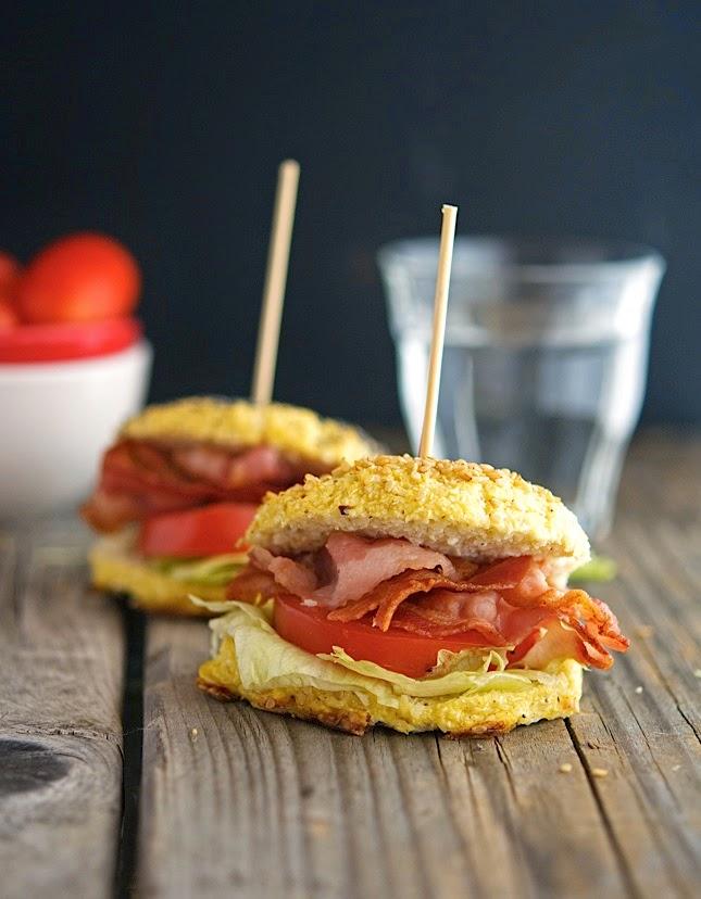 cauliflower bagel sandwich | blt bacon lettuce tomato almond flour | Girlfriend is Better