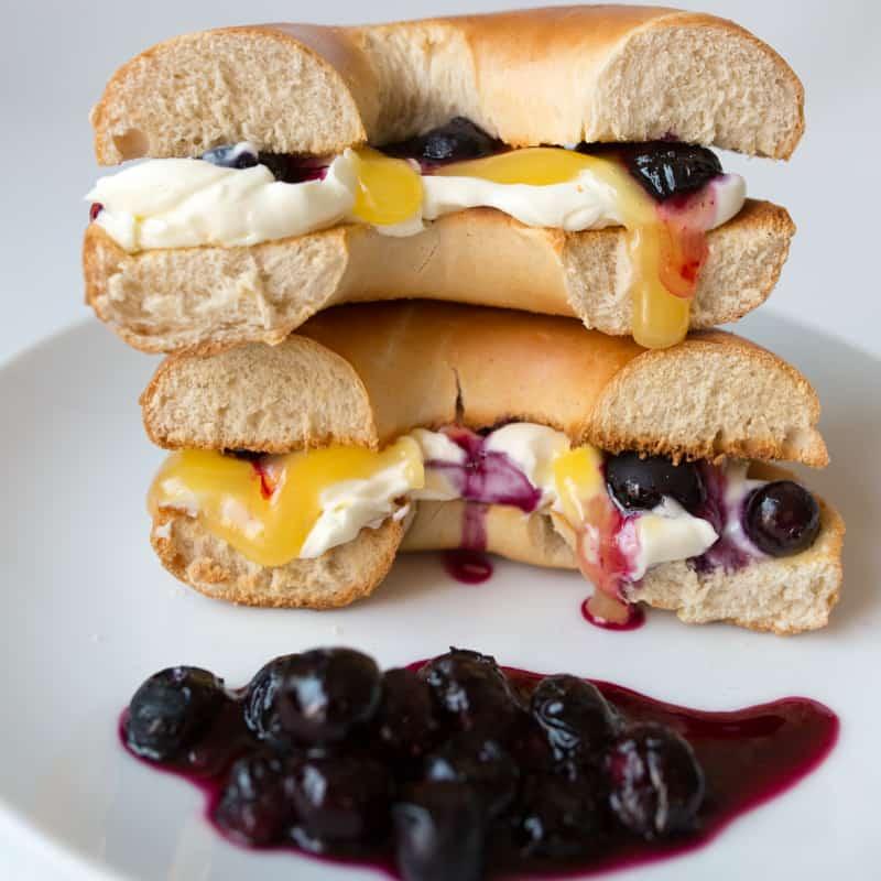 bagel sandwich | blueberry lemon cheesecake mascarpone | Girlfriend is Better