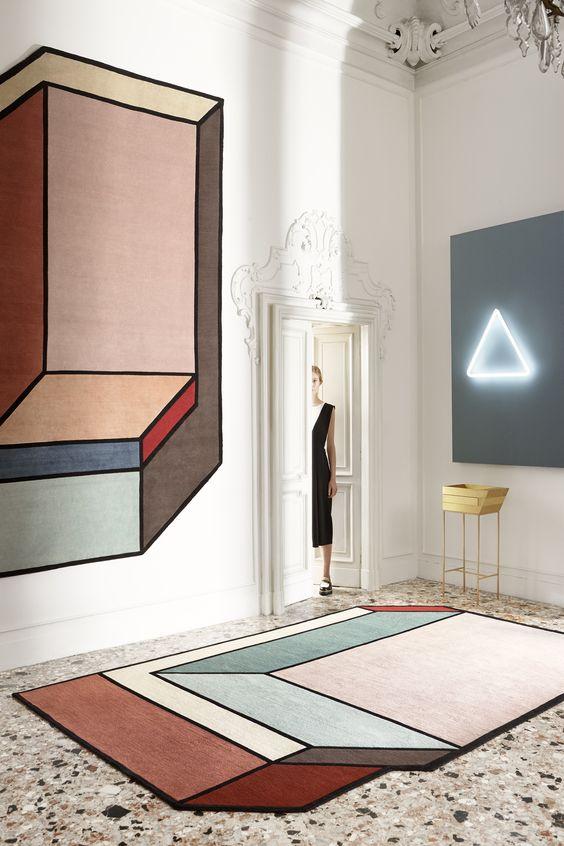 color blocking decor   terrazzo flooring graphic 3D carpet pastel colors neon art   Girlfriend is Better