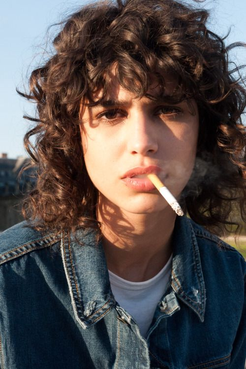 curly bob hairstyles | denim shirt bangs short hair cool | Girlfriend is Better