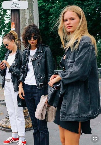 curly bob hairstyles | leather motorcycle jacket striped pants aviators | Girlfriend is Better