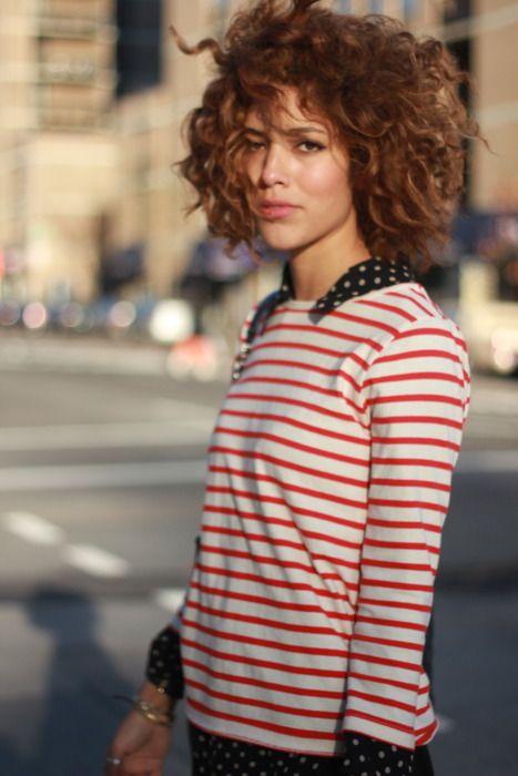 curly bob hairstyles | short haircut natural striped shirt | Girlfriend is Better