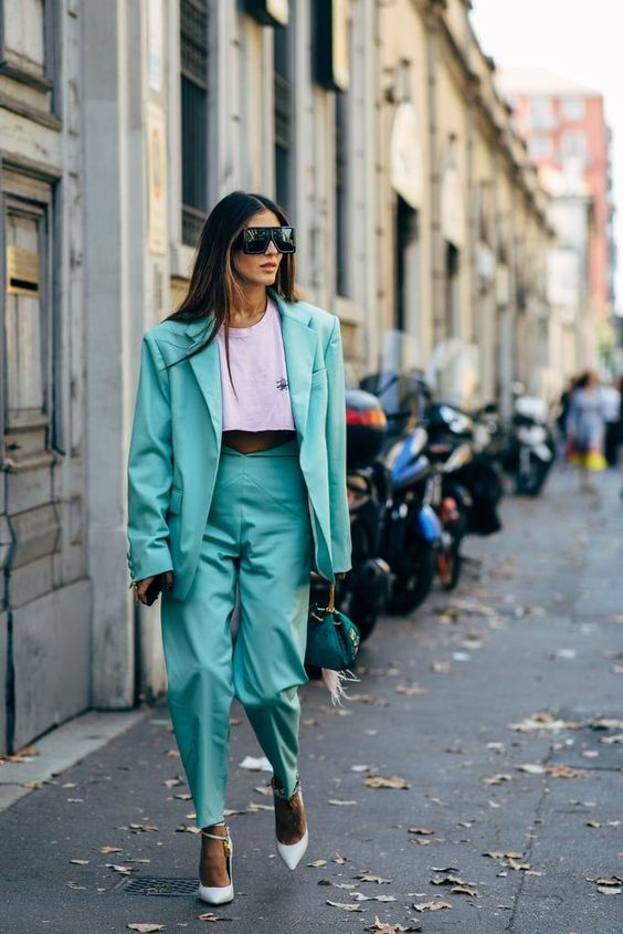 pant suits shield sunglasses teal double-breasted blazer oversized high-waist   Girlfriend is Better