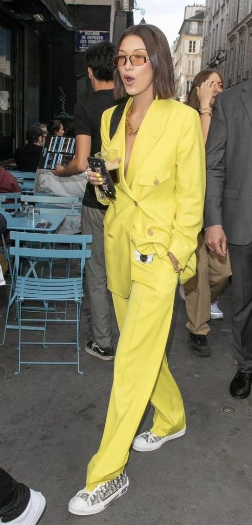 pant suits yellow double-breasted blazer monochromatic tennis shoes   Girlfriend is Better