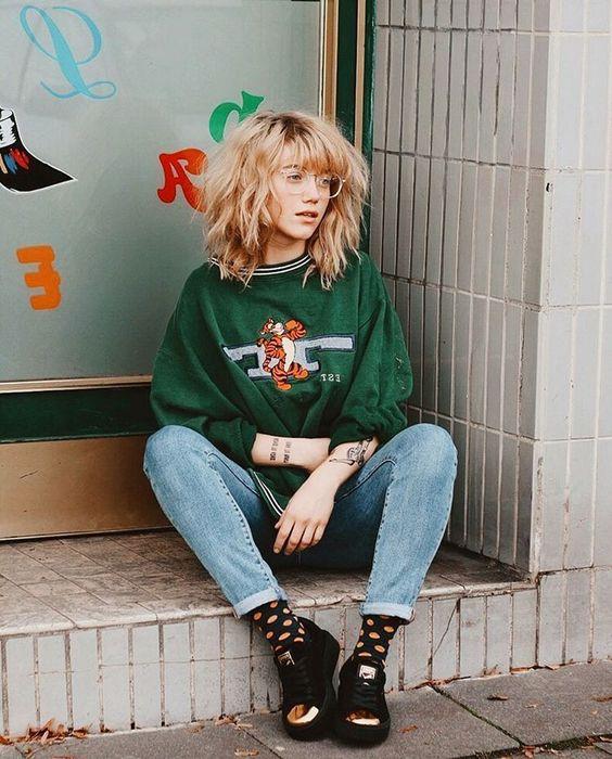 tomboy fashion   vintage green Tigger sweatshirt high-water jeans black tennis shoes   Girlfriend is Better