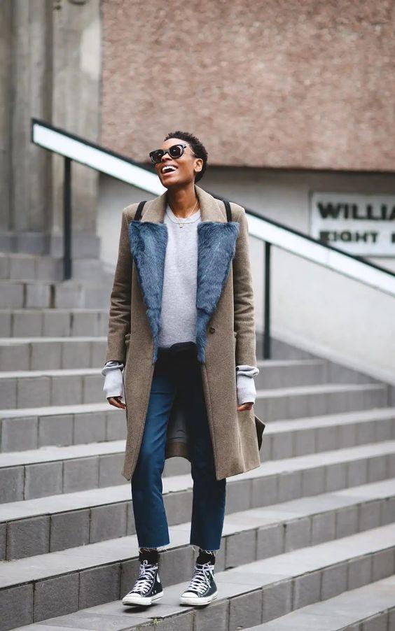 barrel jeans | furl-lined collar full-length coat converse | Girlfriend is Better