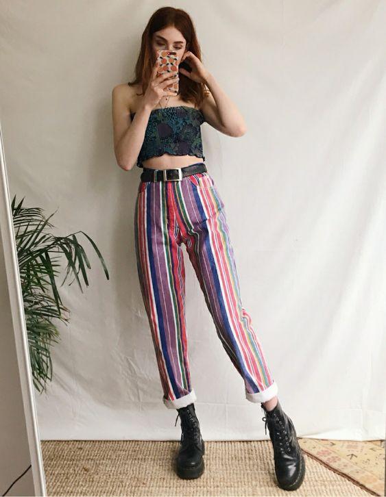striped vintage barrel jeans   rolled cuff black boots high-waist   Girlfriend is Better