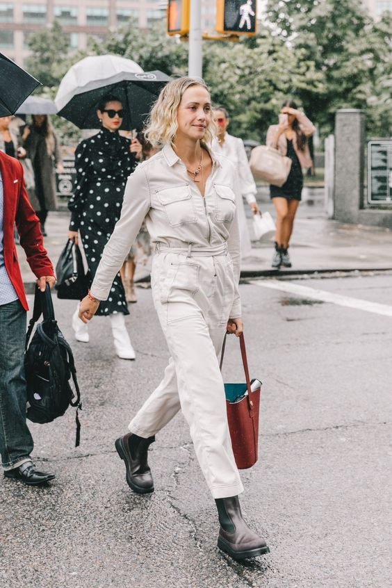 barrel jeans   all-white belted jumpsuit high-water denim   Girlfriend is Better