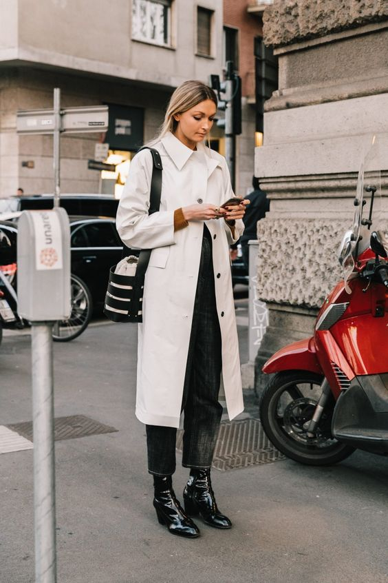 black barrel jeans   patent leather boots beige trench coat   Girlfriend is Better