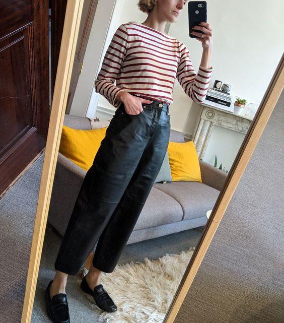 black barrel jeans   striped long sleeve top French girl cool loafers wide leg   Girlfriend is Better