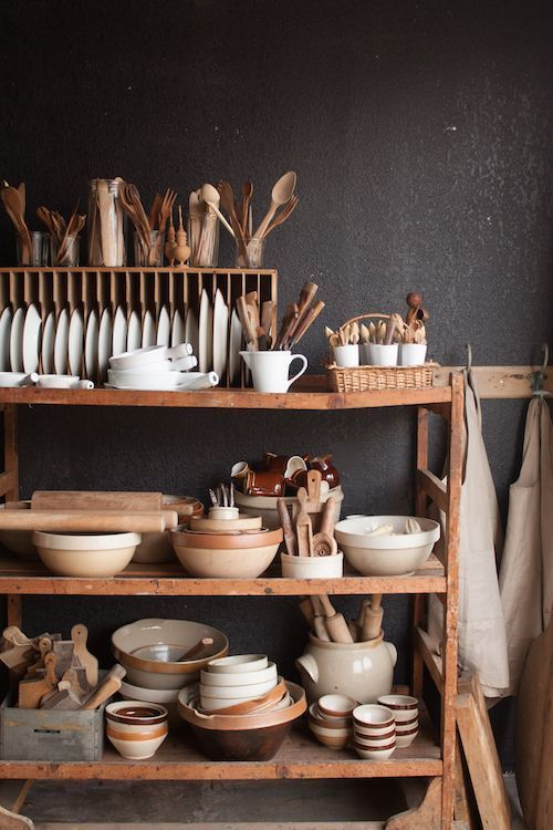 rustic kitchen shelving | vintage collection wood dish rack baking organization | Girlfriend is Better