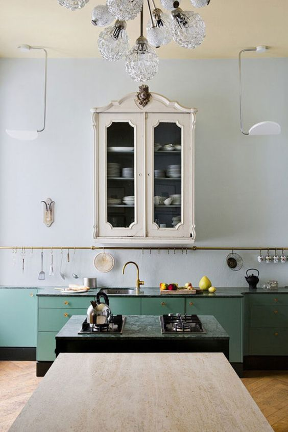 vintage kitchen shelving | French country cabinet hanging rack green cupboards | Girlfriend is Better