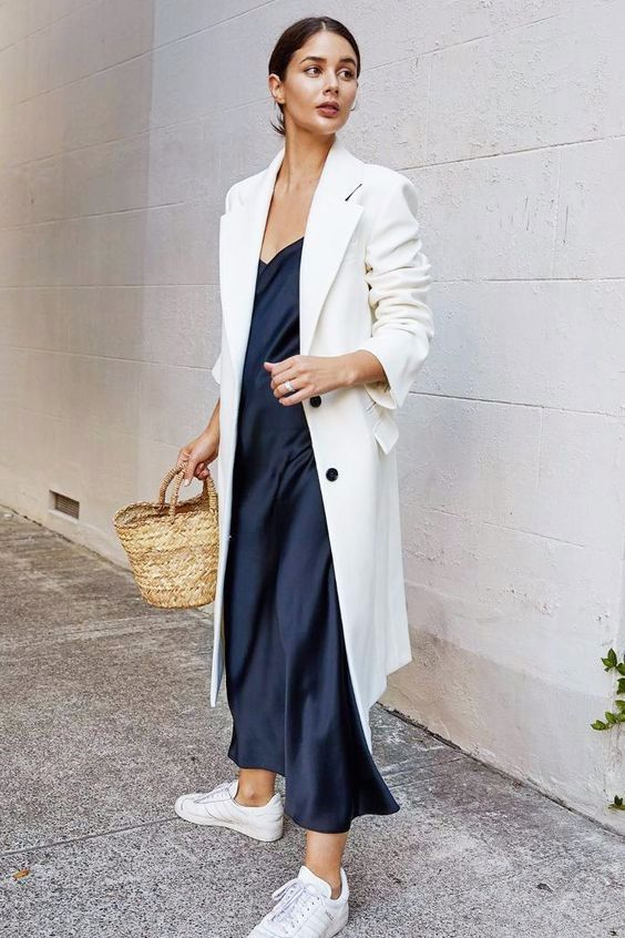 blue satin dress trench coat straw purse white tennis shoes | Girlfriend is Better
