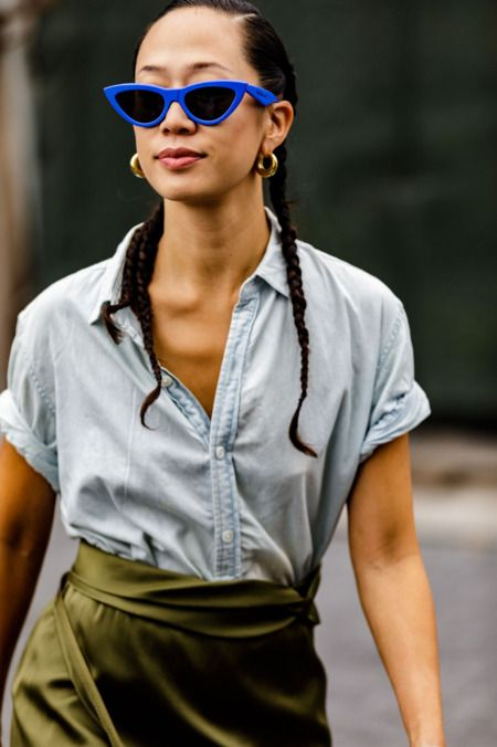 green satin wrap skirt blue chambray blouse cat eye sunglasses | Girlfriend is Better