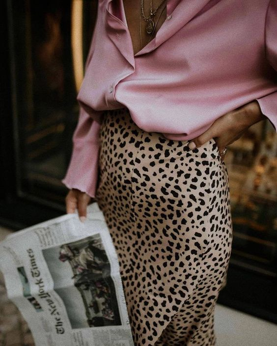 pink satin blouse leopard print midi skirt work wear | Girlfriend is Better